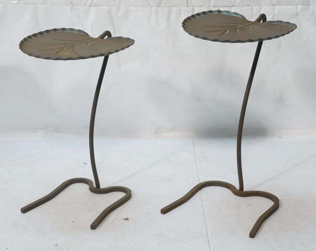 Two SALTERINI Nesting Lily Pad Metal Outdoor Pati