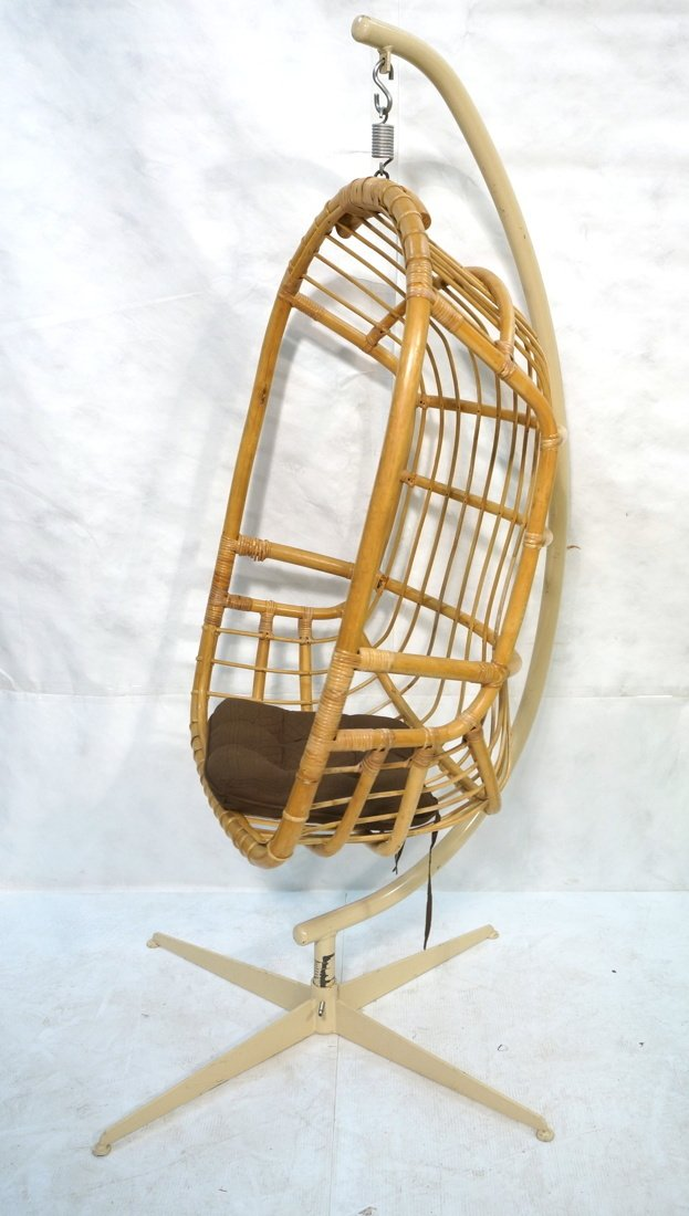 Large Rattan Hanging Chair On Creamy White Metal