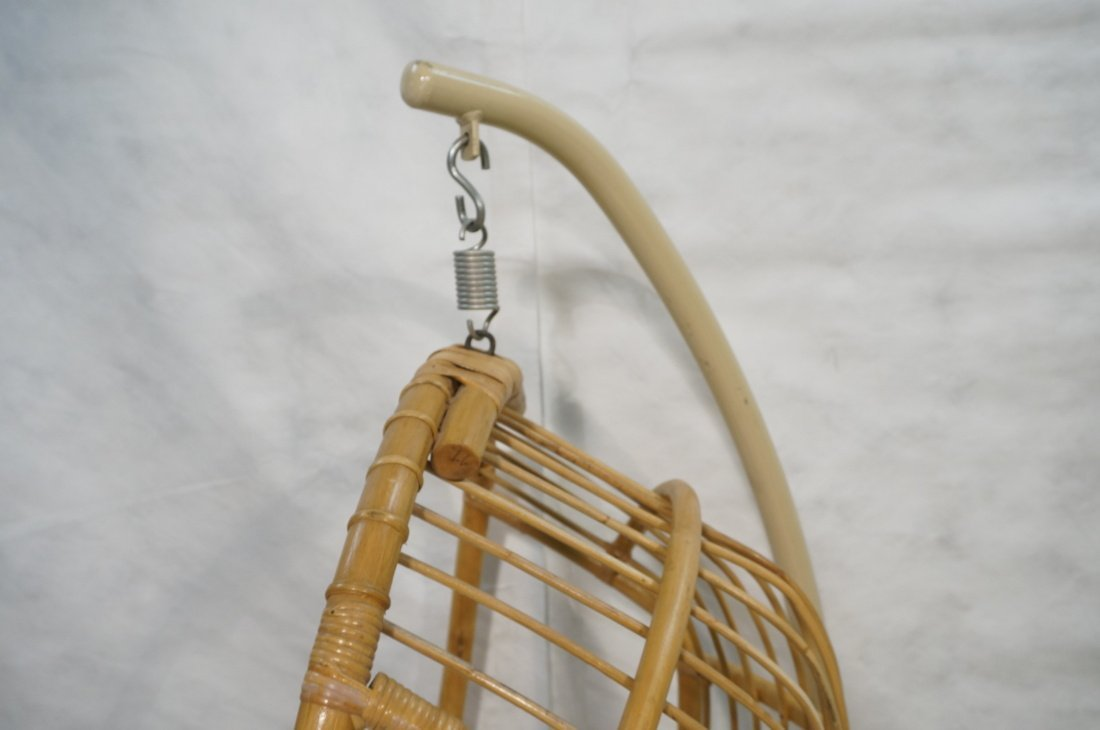 Large Rattan Hanging Chair On Creamy White Metal - 2