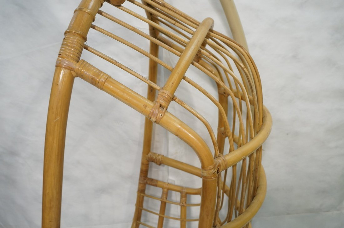 Large Rattan Hanging Chair On Creamy White Metal - 3