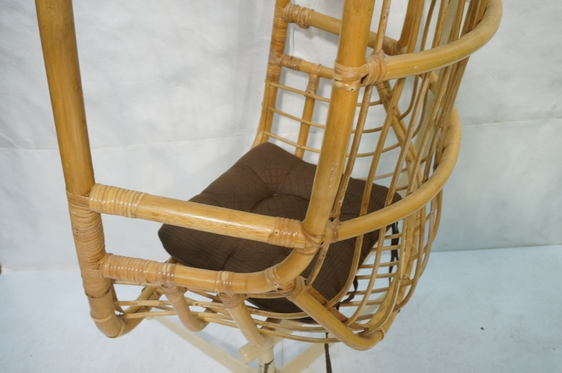 Large Rattan Hanging Chair On Creamy White Metal - 4