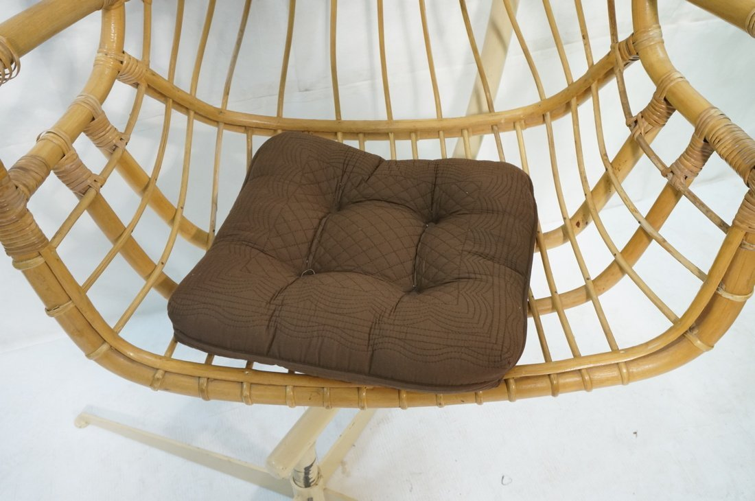 Large Rattan Hanging Chair On Creamy White Metal - 5