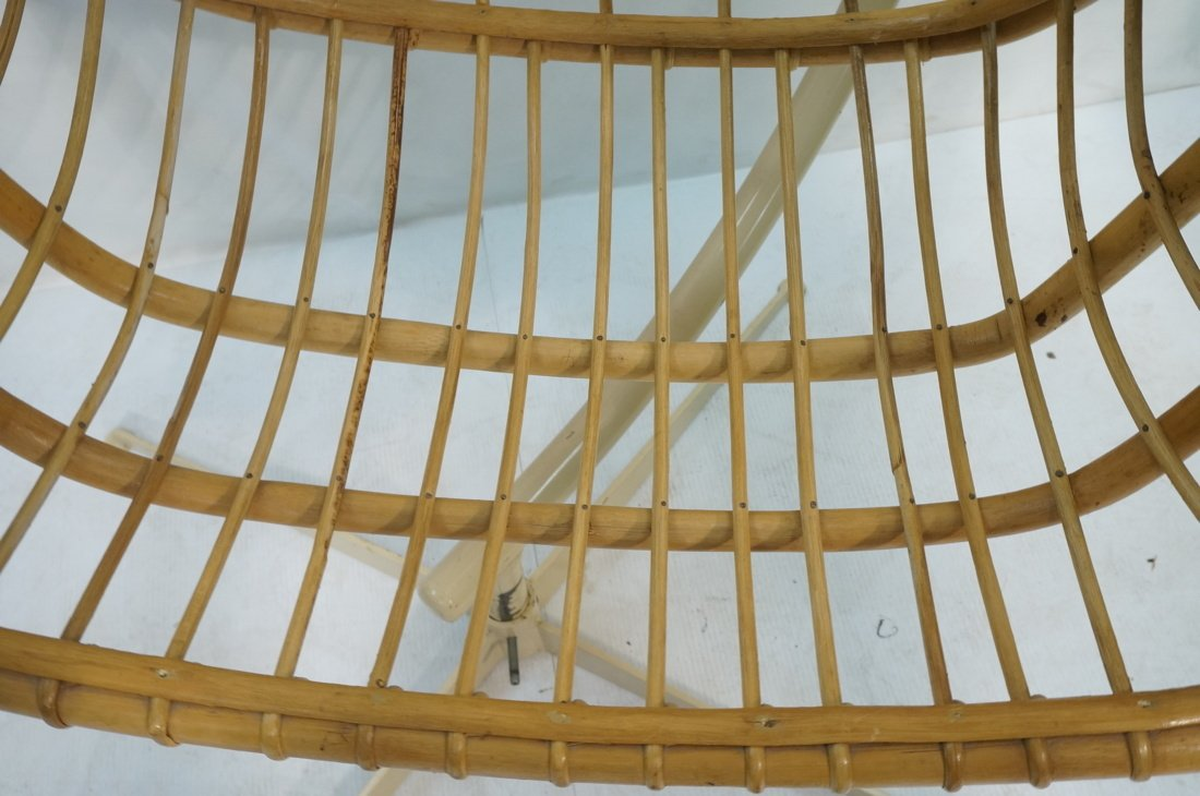 Large Rattan Hanging Chair On Creamy White Metal - 6