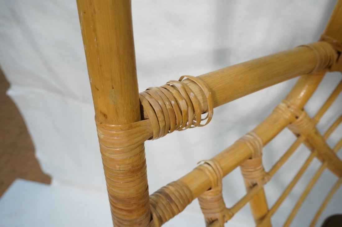 Large Rattan Hanging Chair On Creamy White Metal - 9
