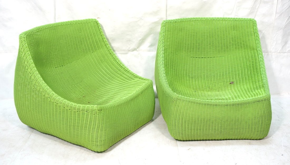 Pr Lime Green Woven Plastic Lounge Chairs. Modern