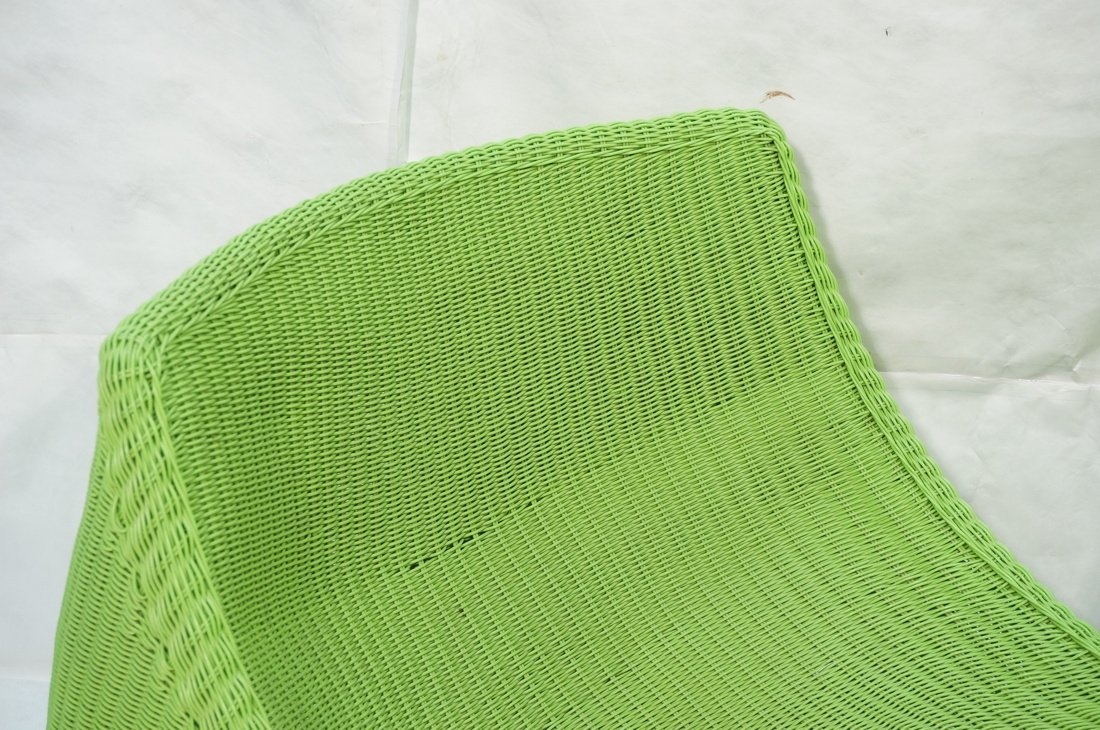 Pr Lime Green Woven Plastic Lounge Chairs. Modern - 2