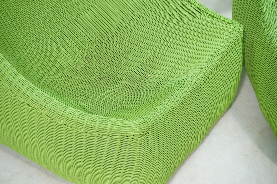 Pr Lime Green Woven Plastic Lounge Chairs. Modern - 4