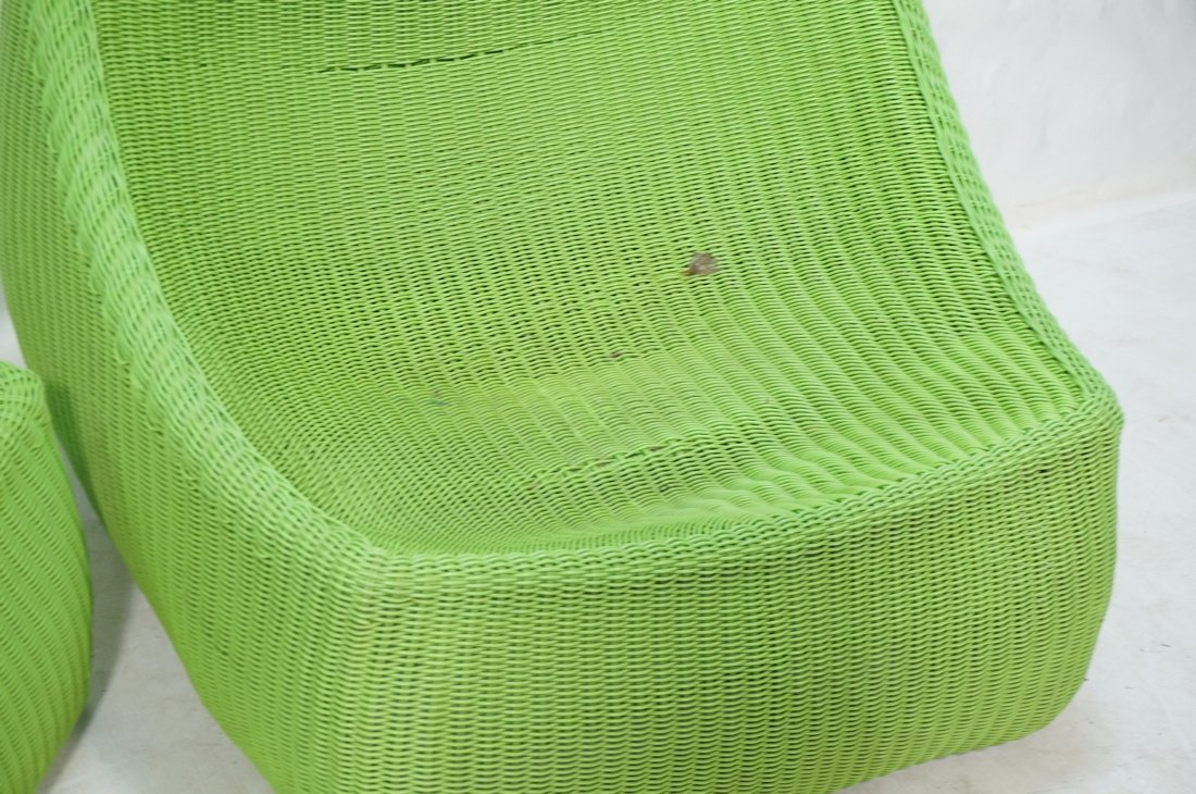 Pr Lime Green Woven Plastic Lounge Chairs. Modern - 5