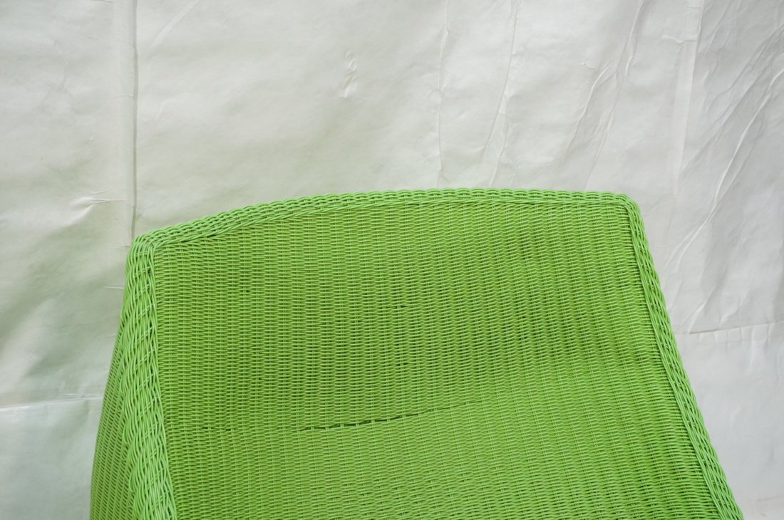 Pr Lime Green Woven Plastic Lounge Chairs. Modern - 6