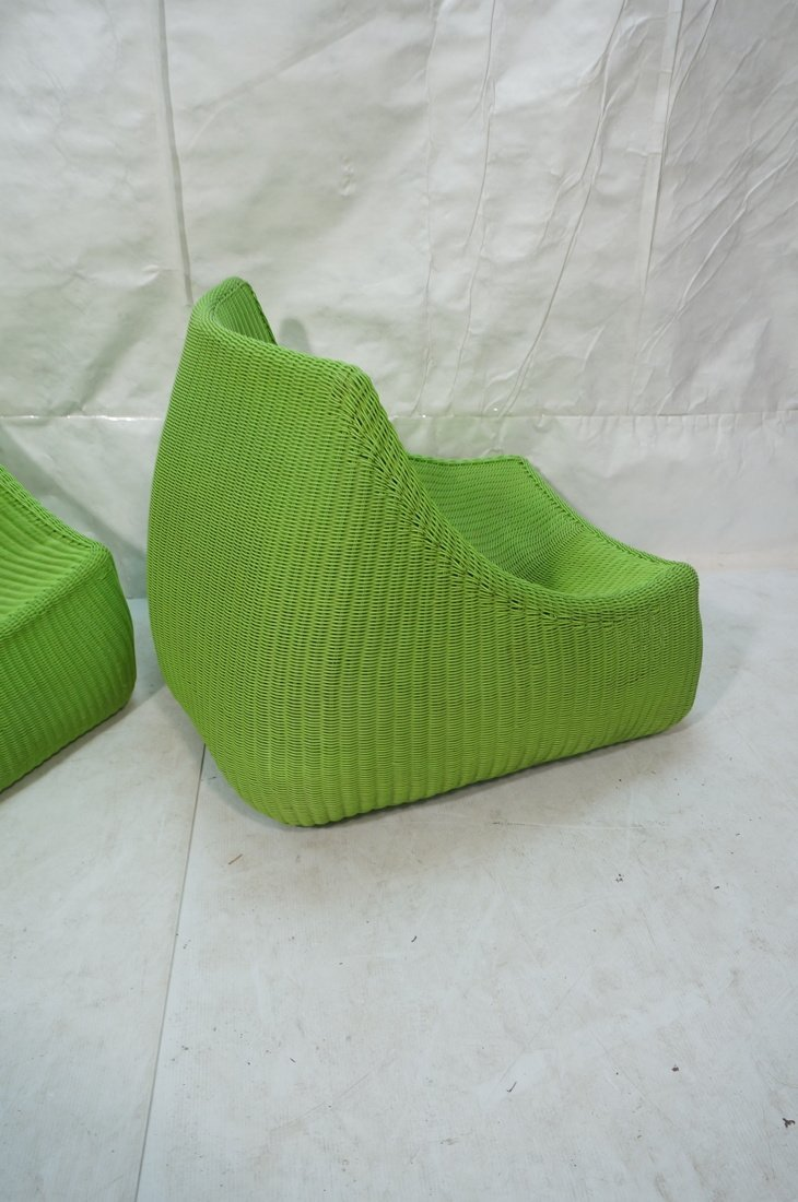 Pr Lime Green Woven Plastic Lounge Chairs. Modern - 7