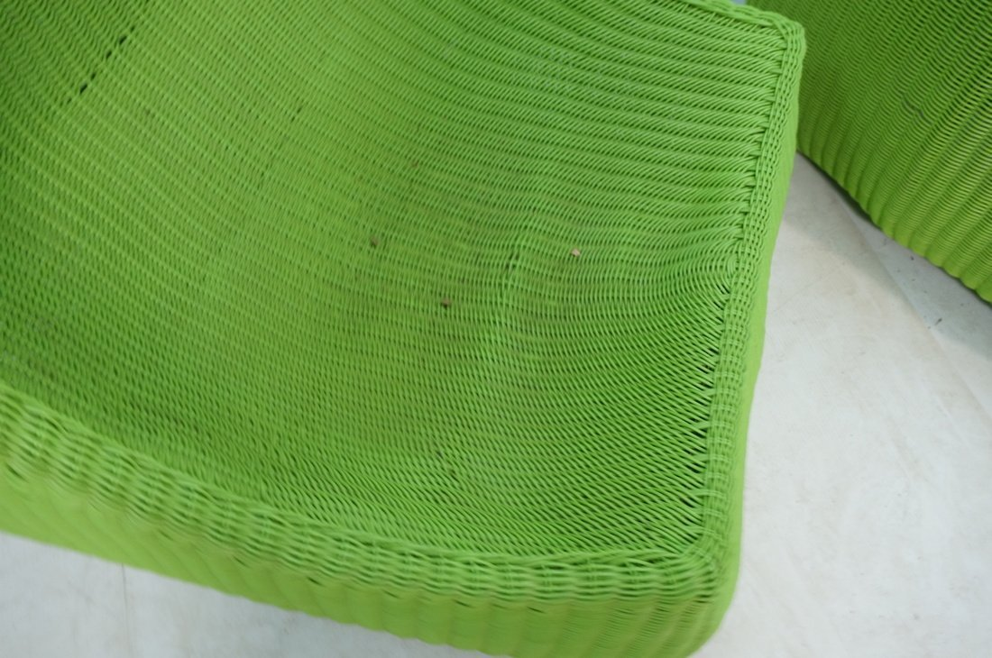 Pr Lime Green Woven Plastic Lounge Chairs. Modern - 8