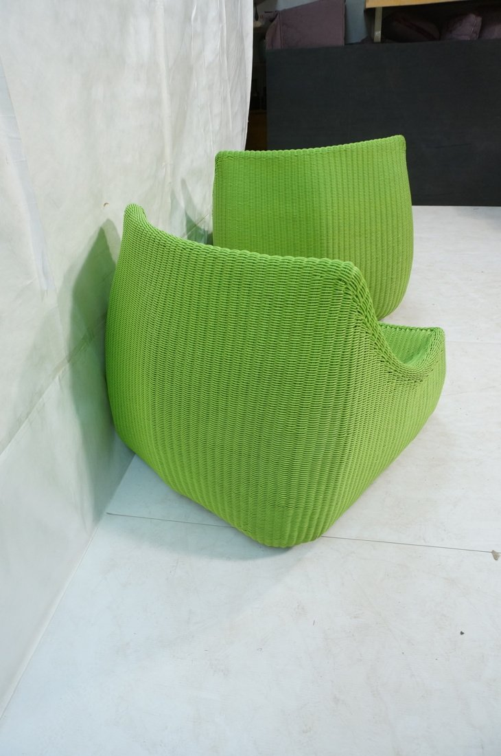 Pr Lime Green Woven Plastic Lounge Chairs. Modern - 9