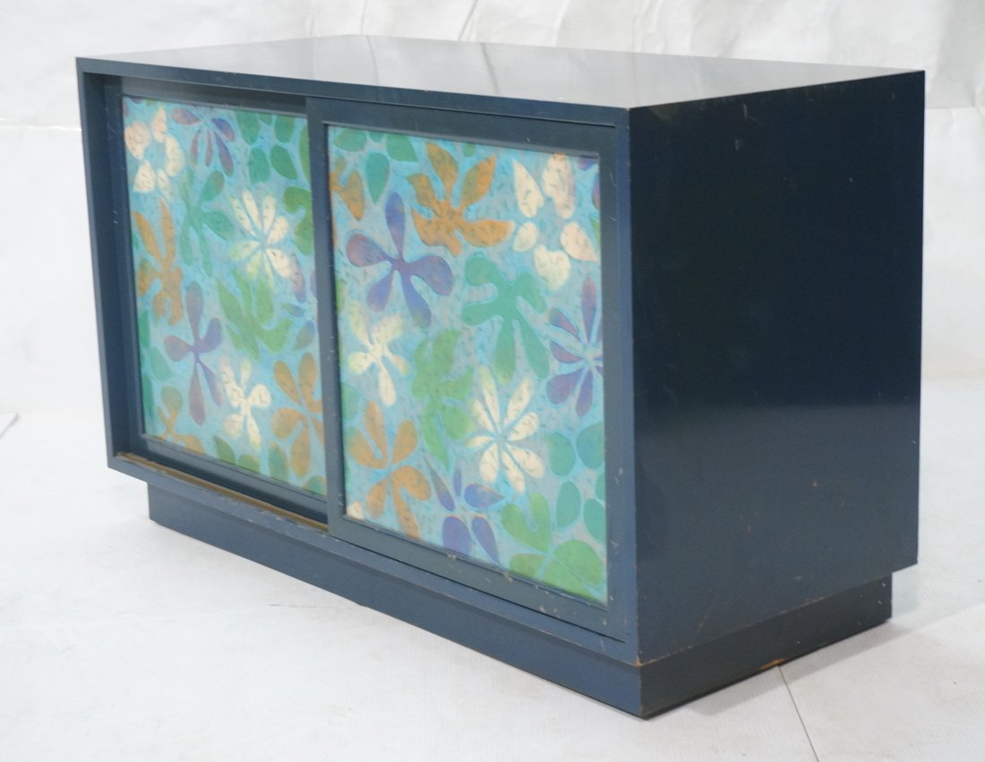 Probber Blue Lacquered Modernist Cabinet. Two sli