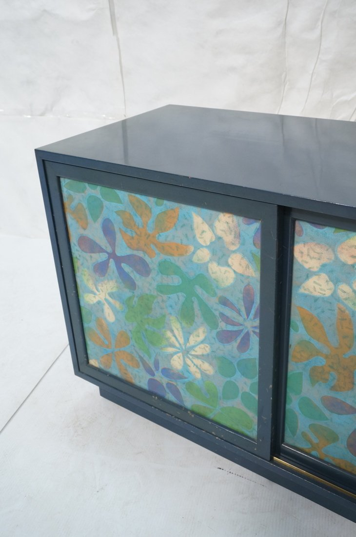 Probber Blue Lacquered Modernist Cabinet. Two sli - 4