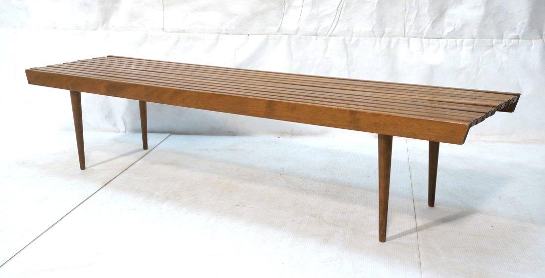 Long Modernist Slat Bench. Tapered peg legs