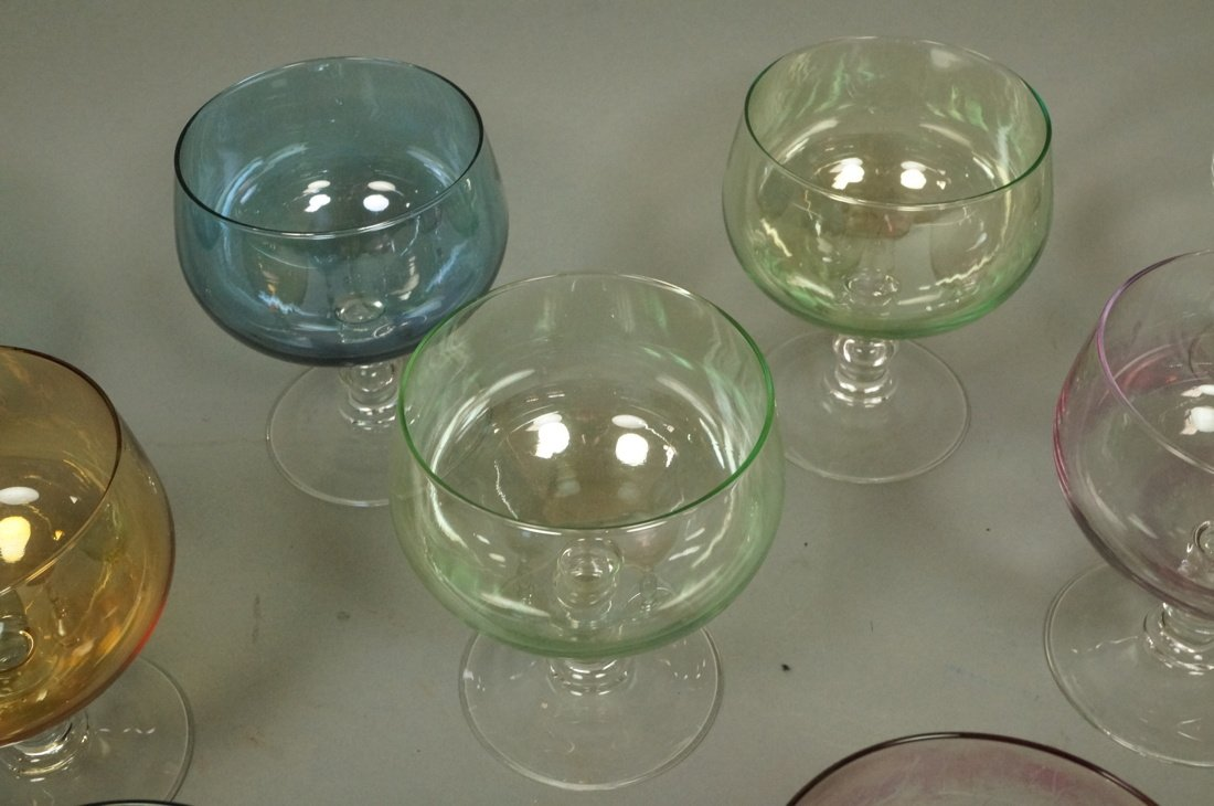 Set 10 French LUMINARC stem glasses. colored bowl - 3