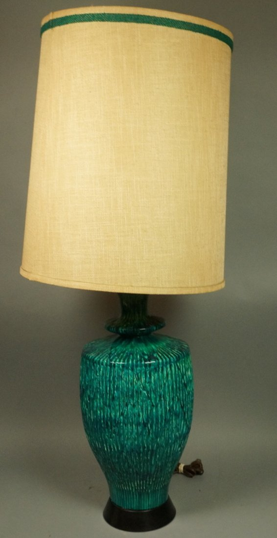 Large Pottery Table Lamp. Drippy striped blue gre