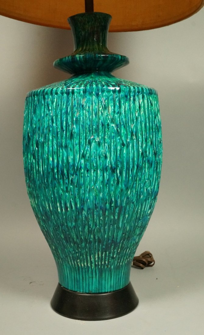 Large Pottery Table Lamp. Drippy striped blue gre - 2