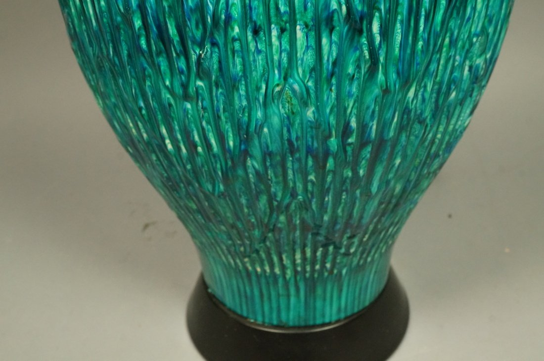 Large Pottery Table Lamp. Drippy striped blue gre - 4