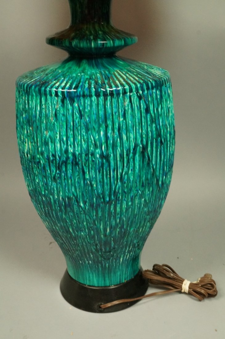 Large Pottery Table Lamp. Drippy striped blue gre - 5