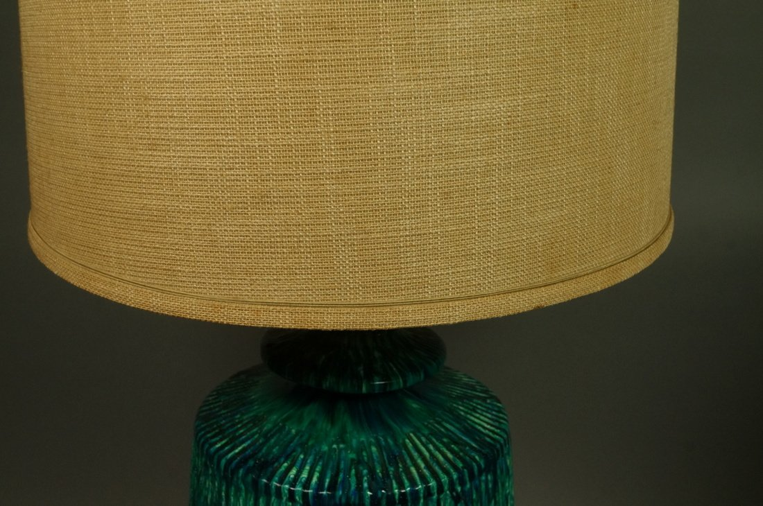 Large Pottery Table Lamp. Drippy striped blue gre - 7