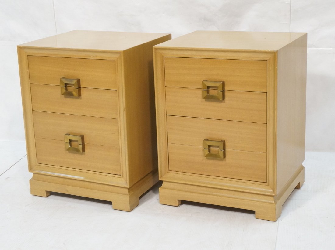 RED LION Modernist Blond Wood Night Stands. Three