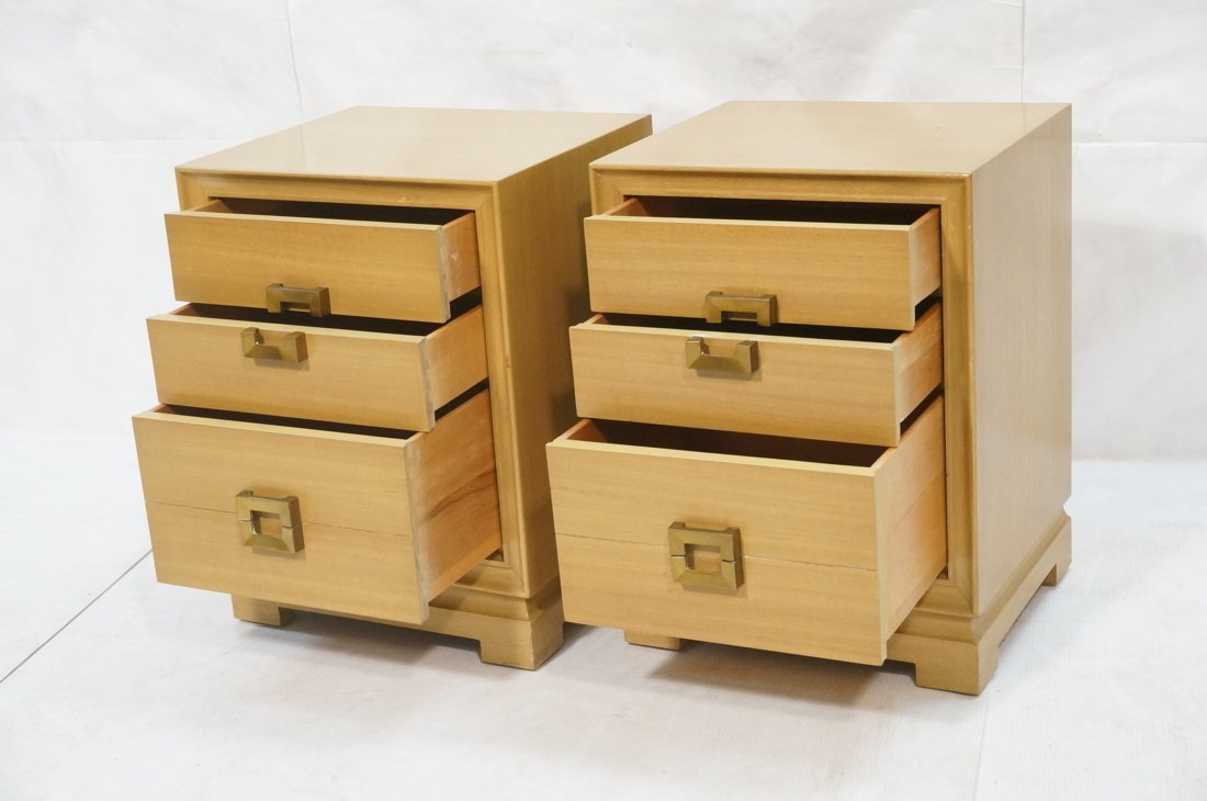 RED LION Modernist Blond Wood Night Stands. Three - 2