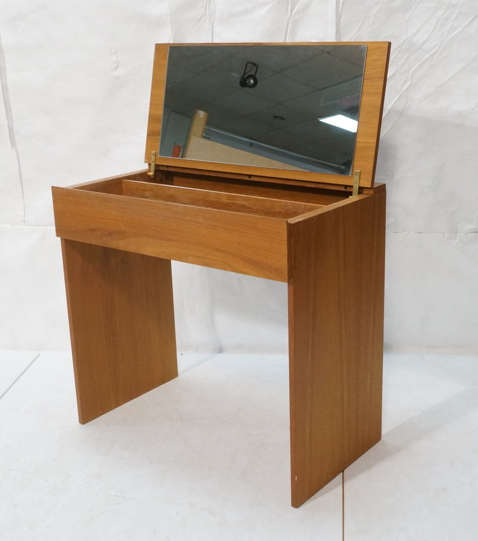 Modernist Danish Teak Flip Top Vanity. Interior m