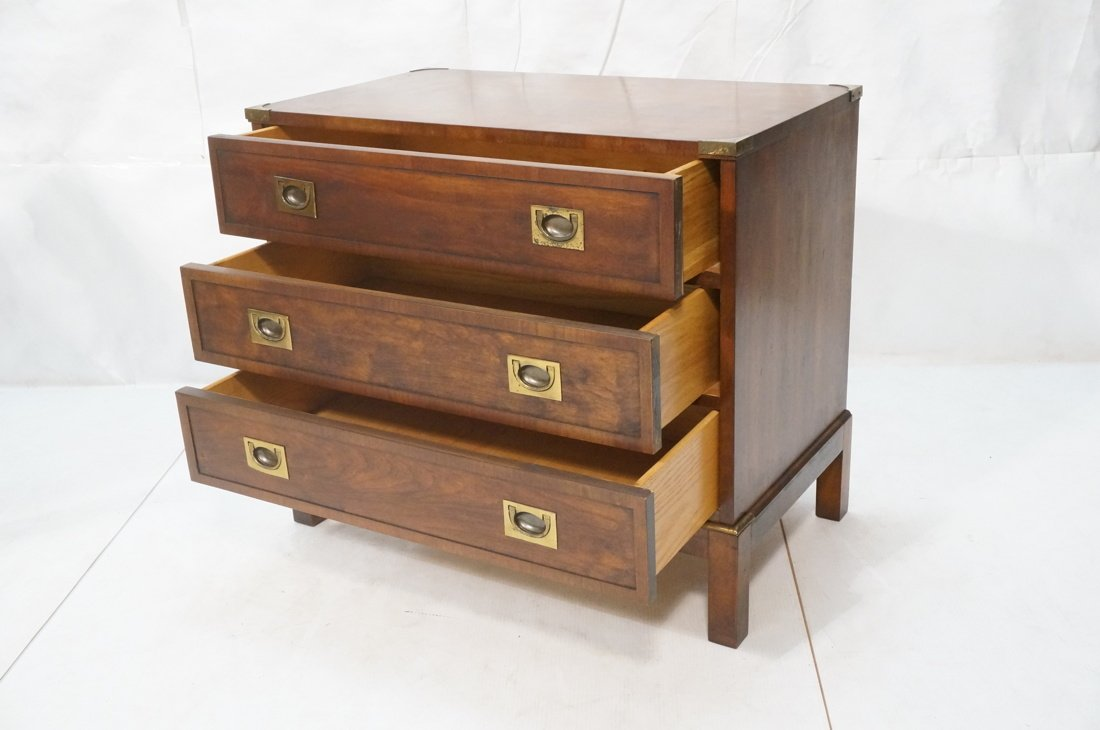 Three Drawer Campaign Chest. Dark wood with brass - 2