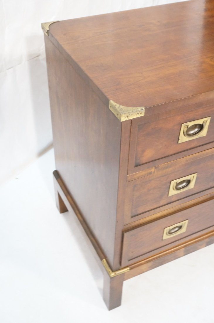 Three Drawer Campaign Chest. Dark wood with brass - 3