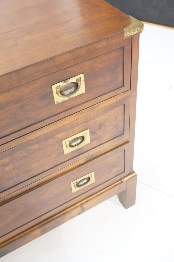 Three Drawer Campaign Chest. Dark wood with brass - 4