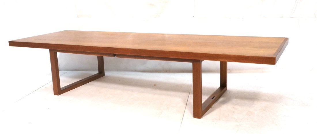 Long minimalist wood coffee Table. Adjustable Hei