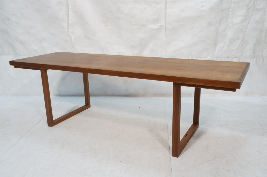 Long minimalist wood coffee Table. Adjustable Hei - 2