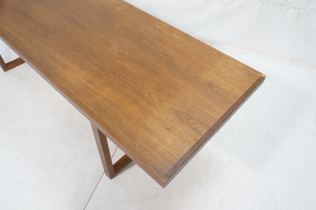 Long minimalist wood coffee Table. Adjustable Hei - 3