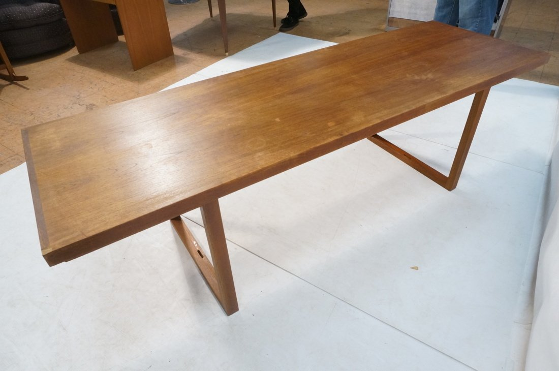 Long minimalist wood coffee Table. Adjustable Hei - 8
