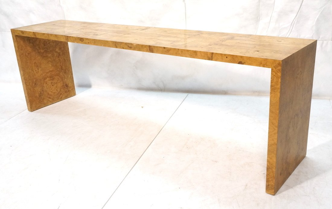 Long Burl Wood Modernist Sofa Console Table.