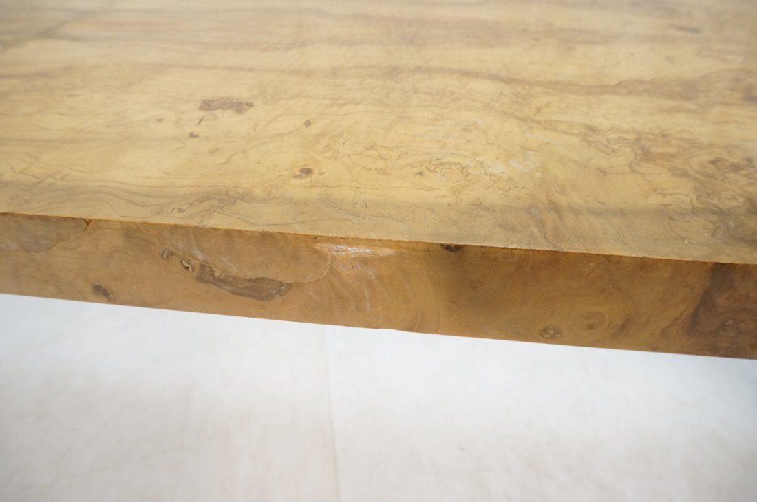 Long Burl Wood Modernist Sofa Console Table. - 9