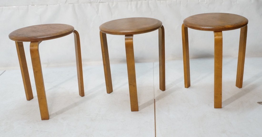 Set 3 Swedish Round Stacking Tables. Alvar Aalto