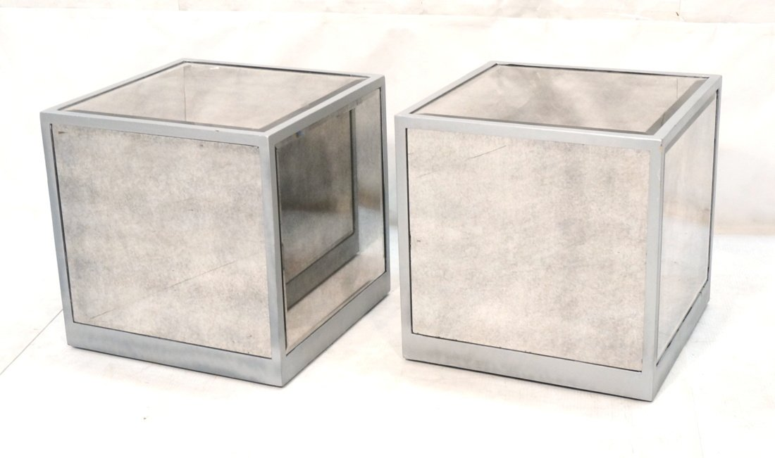 Pr Beveled Mirror Cube Tables. Painted silver cub