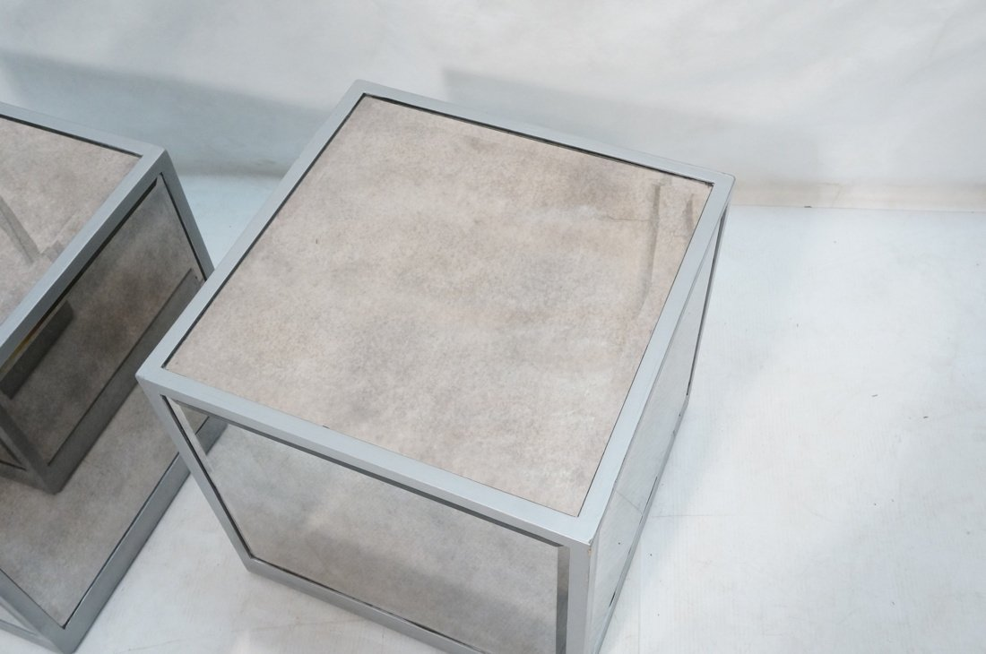Pr Beveled Mirror Cube Tables. Painted silver cub - 2