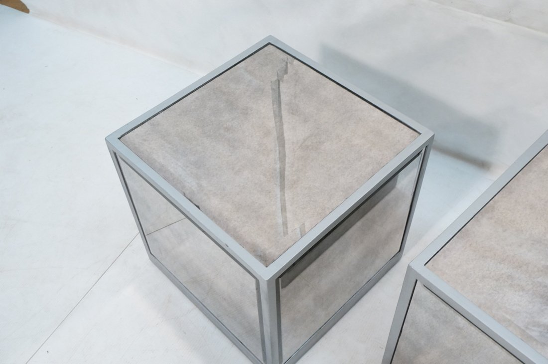 Pr Beveled Mirror Cube Tables. Painted silver cub - 3