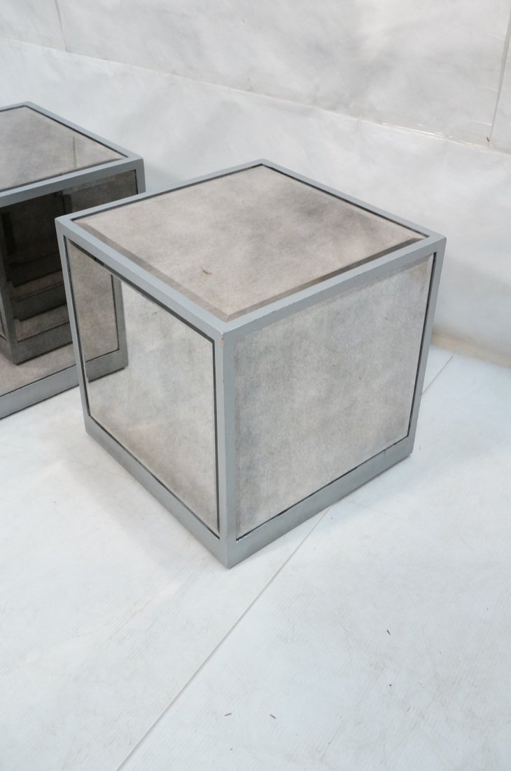 Pr Beveled Mirror Cube Tables. Painted silver cub - 4