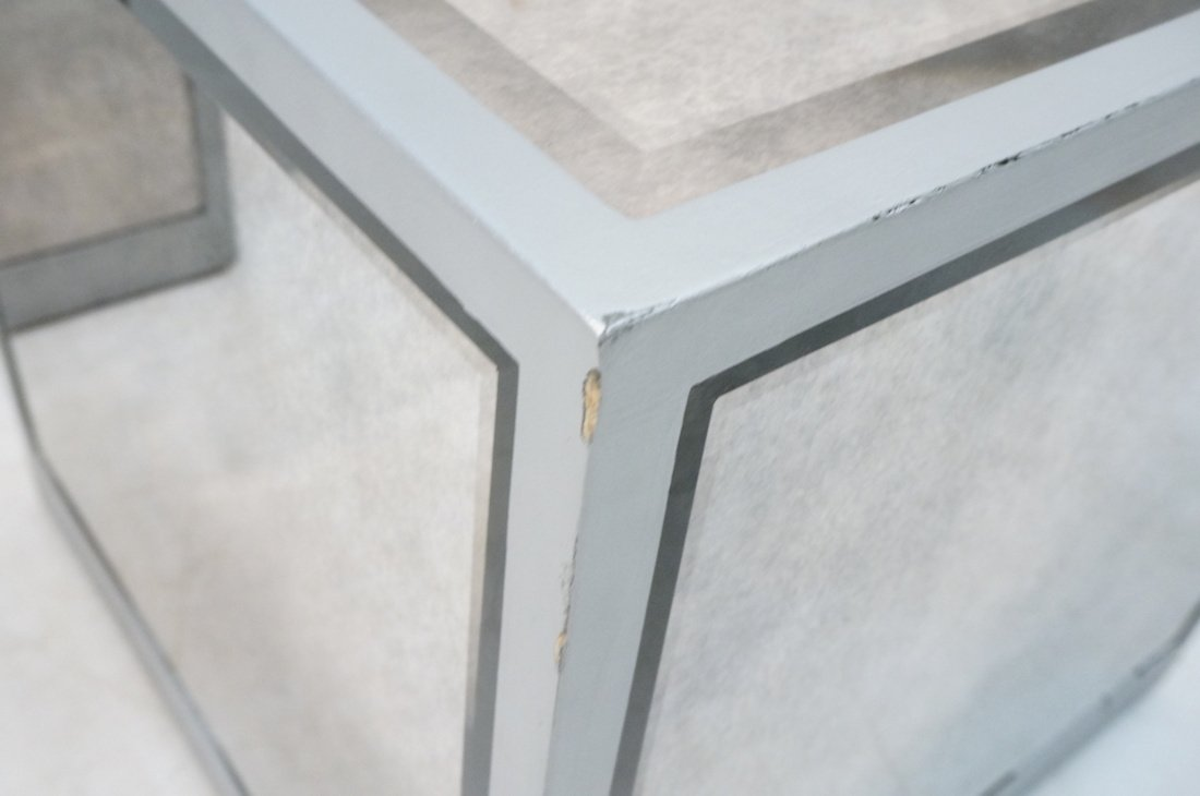 Pr Beveled Mirror Cube Tables. Painted silver cub - 5