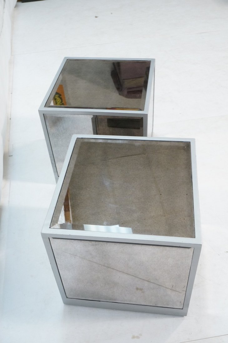 Pr Beveled Mirror Cube Tables. Painted silver cub - 7