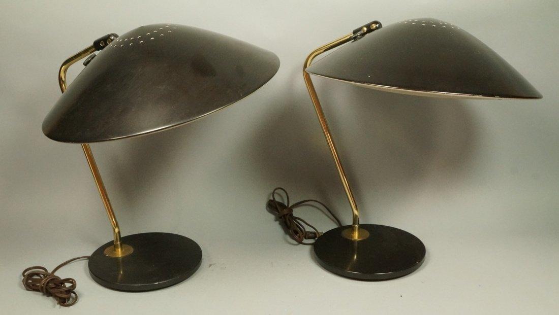 Pr LIGHTOLIER Black Metal Saucer Table Desk Lamps