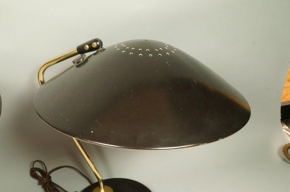 Pr LIGHTOLIER Black Metal Saucer Table Desk Lamps - 5