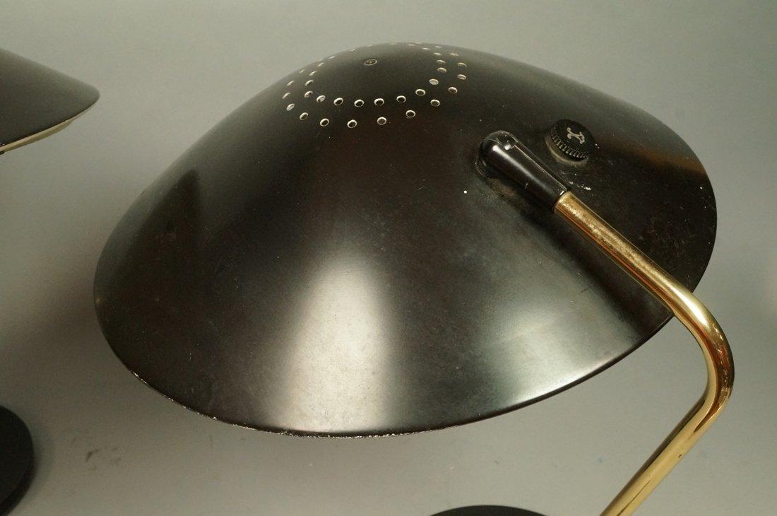 Pr LIGHTOLIER Black Metal Saucer Table Desk Lamps - 6