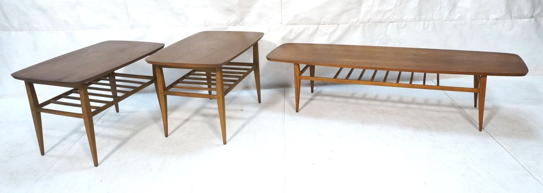 3pc LANE Table Set. Long Coffee & Pair End Tables