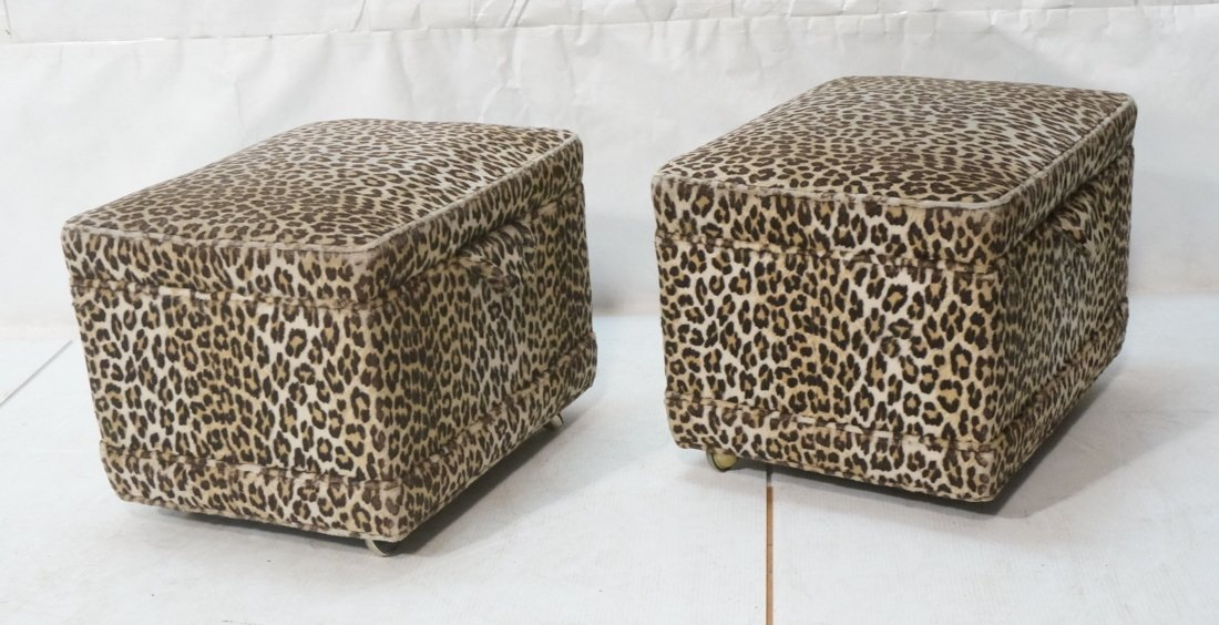 Pr Plush Leopard Fabric Rolling Stools. On caster
