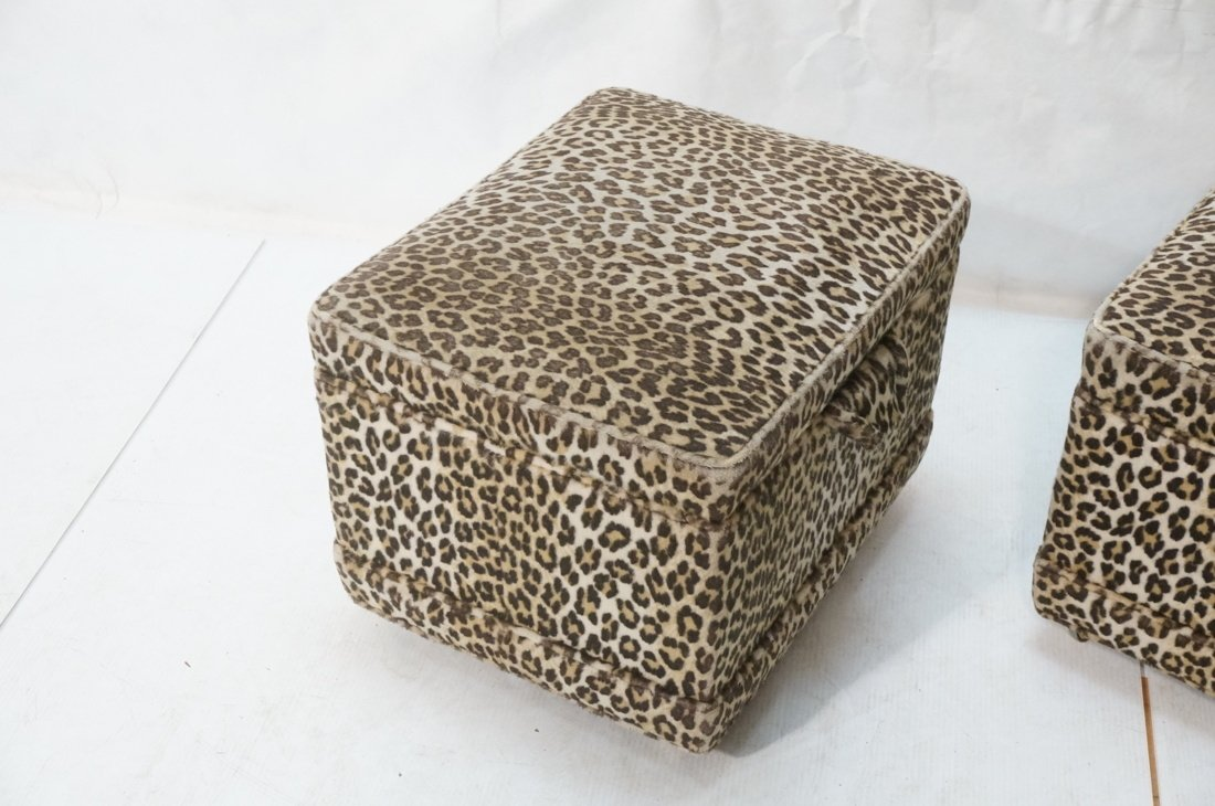 Pr Plush Leopard Fabric Rolling Stools. On caster - 2